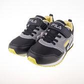 FILA  復古休閒兒童反光慢跑鞋-黑/綠 3-J810Q-046