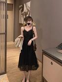 2021早春新款V領內搭吊帶打底連身裙女中長款氣質性感蕾絲小黑裙 韓國時尚週 免運
