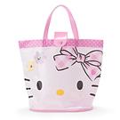 【震撼精品百貨】Hello Kitty_凱蒂貓~Sanrio HELLO KITTY半透明PVC水桶提袋(大臉)#29415