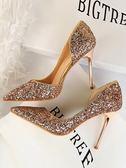 店長推薦★水晶鞋金色婚鞋新娘側鏤空銀色高跟鞋細跟尖頭亮片單鞋女