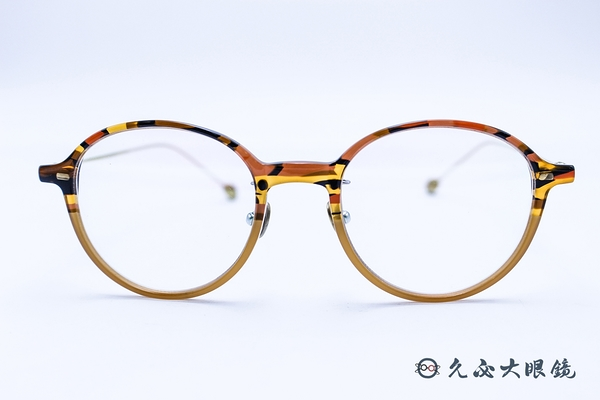 Kaffeine 咖啡因 Mavana C4 (透橘/金) 韓國設計 圓框 近視眼鏡