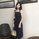 [超豐國際]夏季修身氣質顯瘦開叉吊帶中長...