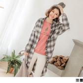 《EA2580-》毛呢英式格紋長版襯衫/外套/洋裝 OB嚴選