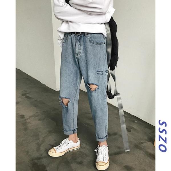 牛仔褲網紅超火的褲子男韓版潮流破洞牛仔褲潮牌寬鬆夏季小腳九分褲新品