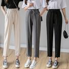 出清288 韓系休閒高腰系帶百搭寬鬆顯瘦哈倫褲單品長褲