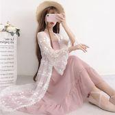 夏季新款韓版寬鬆百搭精致蕾絲繡花喇叭袖開衫上衣中長款罩衫女洋裝  百搭潮品