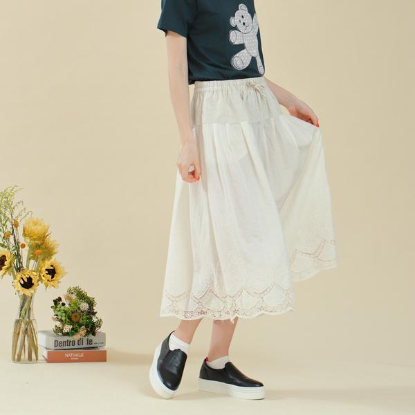 【中大尺碼】棉麻剪接蕾絲裙褲