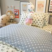 藍色星星法鬥 D2雙人床包雙人薄被套4件組 四季磨毛布 北歐風 台灣製造 棉床本舖