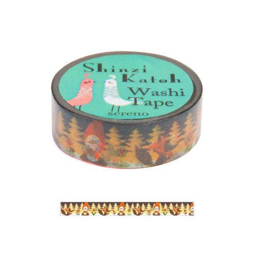 Shinzi Katoh 加藤真治 和紙膠帶15mm 森林小紅帽_ZI02886