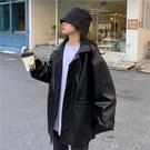 快速出貨 外套皮衣外套女春秋寬鬆韓版學生年新款春季pu皮短款機車皮夾克潮