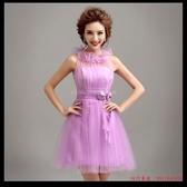 (45 Design) 訂做款式7到貨  伴紫色短款新娘伴娘小禮服伴娘裝伴娘團晚宴宴會禮儀演出服