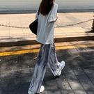 暈染闊腿褲女高腰夏季薄款垂感休閑褲拖地長褲寬鬆水波紋褶皺褲子 喵小姐