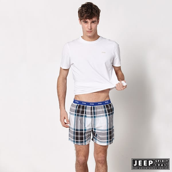 【JEEP】五片式剪裁 純棉平口褲 (咖啡綠格紋)