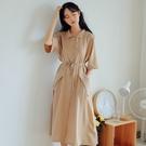 襯衫洋裝 夏季裙子連身裙超仙收腰顯瘦氣質襯衫裙女學生長裙腳踝-Ballet朵朵