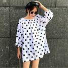 EASON SHOP(GU8489)實拍韓版黑色圓波點點圓領七分袖下襬傘狀連身裙洋裝女娃娃裙寬鬆顯瘦短裙膝上裙