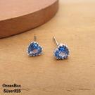 §海洋盒子§氣質優雅。水藍色愛心鋯石925純銀貼耳耳環 (925純銀外鍍專櫃級正白K)