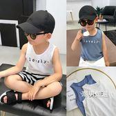 優惠兩天-背心男童背心夏季百搭韓國麻棉料兒童字母背心中小童無袖上衣2色