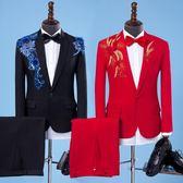 中大尺碼 演出服套裝男成人歌手主持人服裝婚慶司儀禮服舞臺大合唱西服西裝WL3269【衣好月圓】