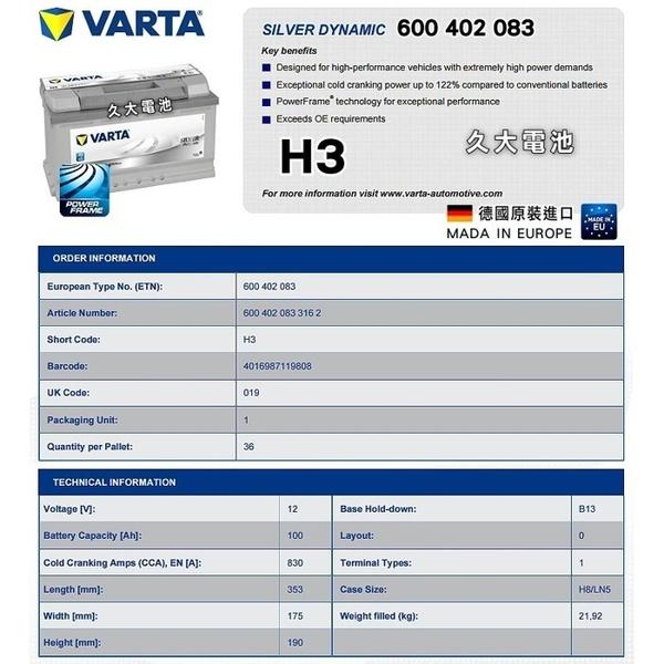 ✚久大電池❚ 德國進口 VARTA 銀合金 H3 100Ah 蘭吉雅 LANCIA Thesis 2002~2009