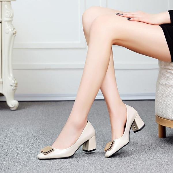 晚晚鞋仙女風平底奶奶鞋溫柔鞋中跟百搭網紅單鞋淺口包頭粗跟鞋子 雙12全館免運