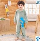 兒童睡衣 睡衣男個性潮搞怪連體兒童冬季三層夾棉男可外穿法蘭絨套裝【快速出貨八折下殺】