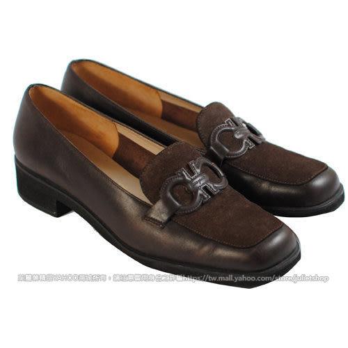 茱麗葉精品 展示全新 Salvatore Ferragamo 時尚LOGO休閒皮鞋.深咖