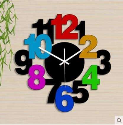 雅刻麗現代個性時鐘靜音客廳掛鐘時尚藝術鐘錶簡約創意臥室石英鐘(20英吋)