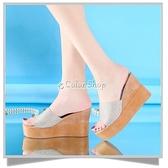 亮片2021新款女涼拖鞋厚底坡跟高跟一字拖鞋時尚百搭女涼鞋 快速出貨