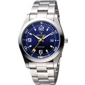 【Valentino】義式風情經典腕錶-藍/銀/39mm SM6405S藍數