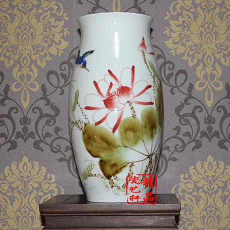 花瓶 窯變 手繪 荷塘秋韻 腰鼓