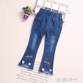 女童牛仔褲春季童裝韓版薄款兒童休閒褲中大童寶寶喇叭褲 ◣歐韓時代◥