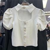 春夏新品短款針織衫女韓版修身顯瘦Polo領鏤空開衫毛衣短袖上衣5 幸福第一站