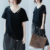 大尺碼 微胖MM新款夏季白色V領t恤女短袖韓版大碼寬鬆純色百搭上衣體恤衫 新年特惠