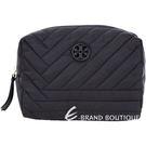 TORY BURCH QUILTED 重磅尼龍車縫設計萬用化妝包(黑色) 1540991-01