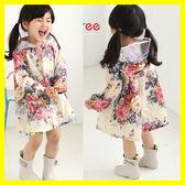 全館83折 女童小童兒童雨衣韓國時尚甜美花朵可愛學生大帽檐雨披防水服親子