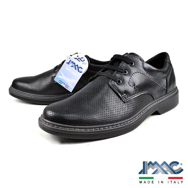 【IMAC】義大利牛皮綁帶氣墊休閒皮鞋  黑色(70270-BL)