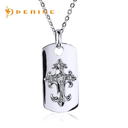 925純銀鍍白金墜「天然鑽石項鍊」主石0.01克拉/ DECO 銀飾禮品/情人禮物