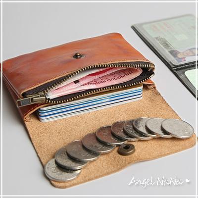 真皮零錢包-簡約復古風植鞣皮頭層牛皮多功能收納包短夾 Angelnana (SMA0232)