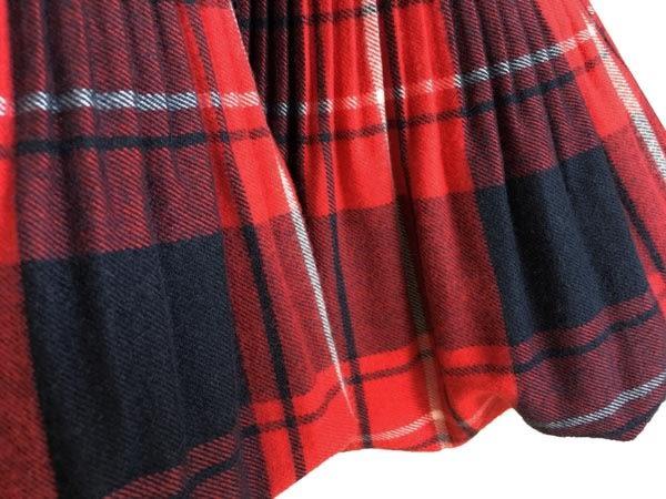 Annys貴族蘇格蘭格紋蝴蝶結花苞蓬洋裝*7256紅