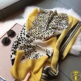 絲巾秋季花豹豹紋旅遊防曬披肩女紗巾棉麻圍巾
