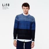 Casual 細紗混紡 漸層圓領針織上衣-單寧藍【03971】
