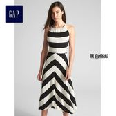 Gap女裝 手帕式裙擺掛脖中長款洋裝 297872-黑色條紋
