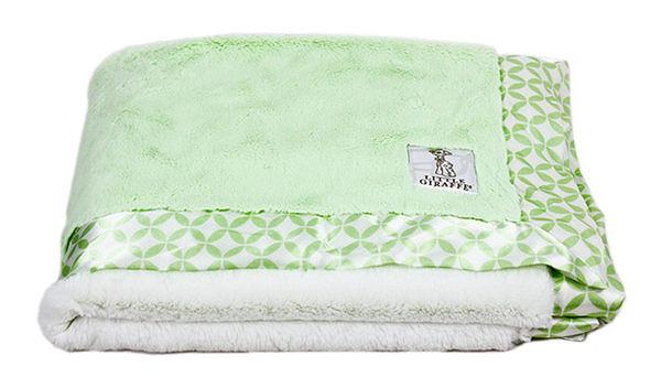 綠色 美國Little Giraffe Luxe Dot Baby Blanket  素面嬰兒毯   嬰兒被  彌月禮-超級BABY