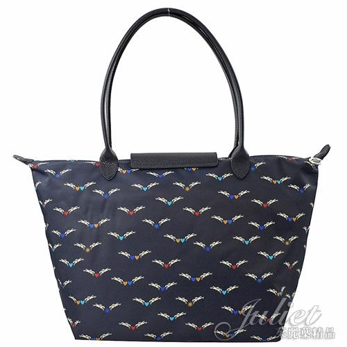 茱麗葉精品【全新現貨】Longchamp Le Pliage 可愛飛馬長把肩提包.深藍 #1899