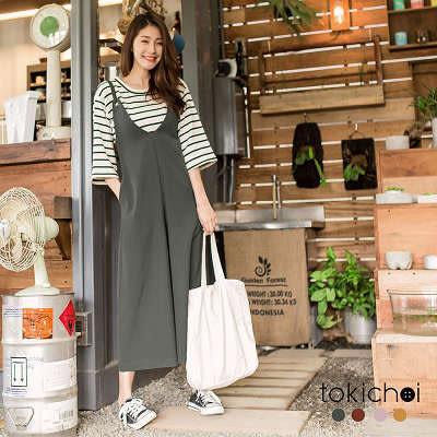 東京著衣-多色深V領修身吊帶長褲-S.M(180250)
