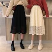 ~韓版超仙蕾絲鉤花鏤空高腰顯瘦加絨中長款半身裙 雅楓居