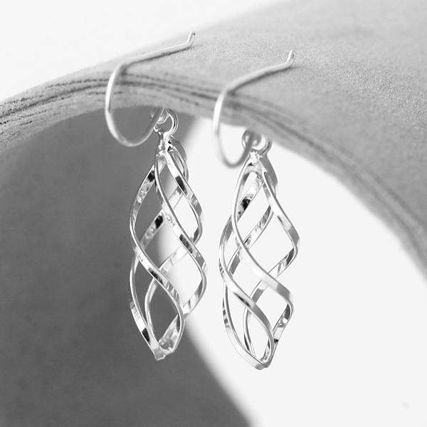 耳環 925純銀鏤空螺旋勾式耳針【NPD61】一對