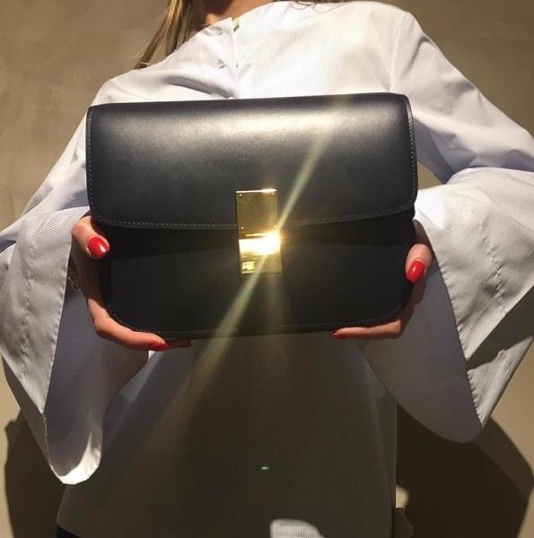 專櫃74折■Celine 189173 中款黑色頂級犢皮CLASSIC BOX 手袋