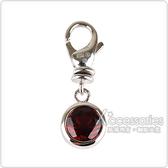 萬寶龍MONTBLANC 壓印LOGO圓形設計紅寶石鑲飾吊飾(銀)