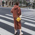 【現貨43】長袖連帽上衣+休閒長裙 顯瘦百搭藏肉兩件套裝減齡洋氣連身裙 L XL~磚紅色